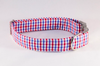 Preppy Red White and Blue Gingham Dog Bow Tie Collar, Ole Miss Rebels