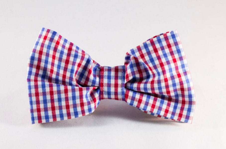 Preppy Red White and Blue Gingham Dog Bow Tie, Ole Miss Rebels