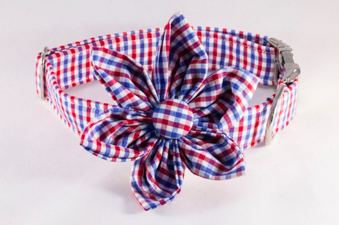 Preppy Red White and Blue Gingham Girl Dog Flower Bow Tie Collar, Ole Miss Rebels