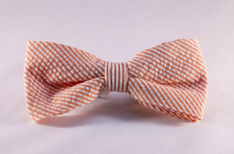 Preppy Orange Seersucker Dog Bow Tie