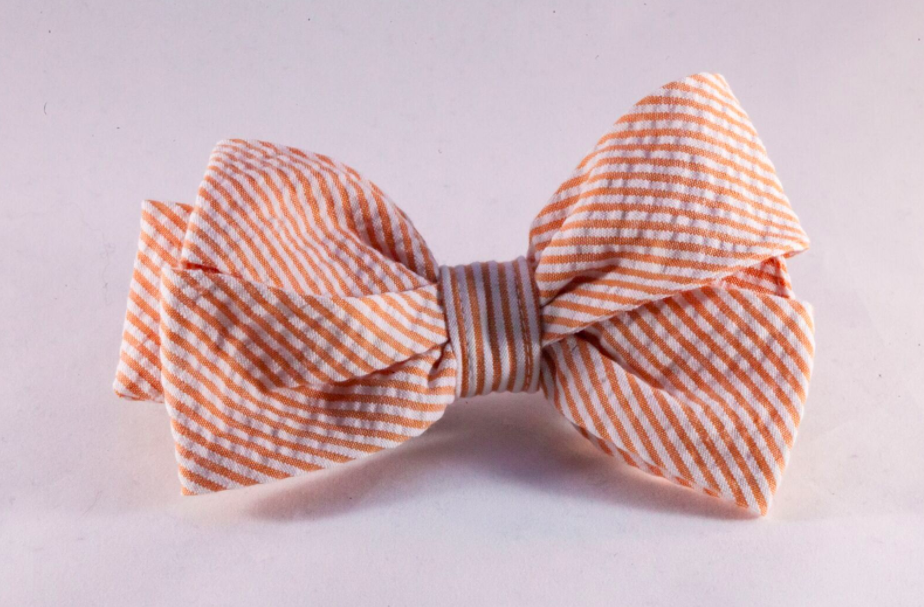 Preppy Orange Seersucker Girl Dog Bow Tie