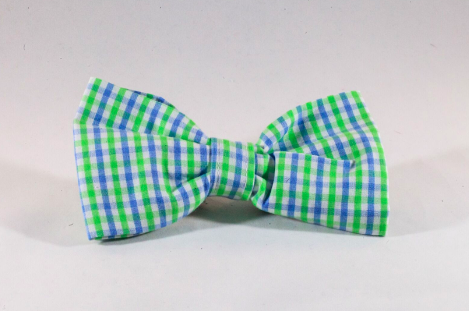 Preppy Blue and Green Gingham Dog Bow Tie