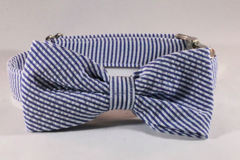 Preppy Navy Blue Seersucker Bow Tie Dog Collar