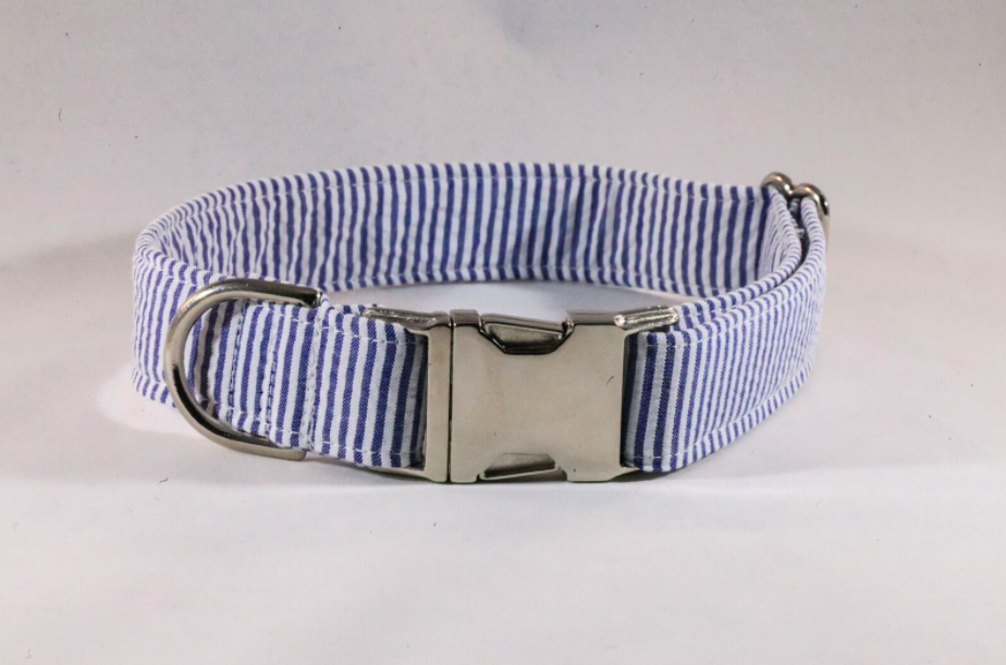 Preppy Navy Blue Seersucker Dog Collar
