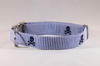 Preppy Navy Blue Skull and Cross Bones Seersucker Dog Collar