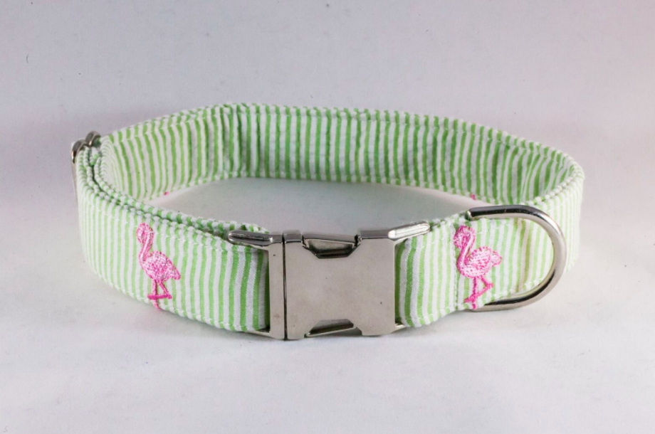 Preppy Green and Pink Flamingo Seersucker Dog Collar