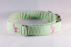 Preppy Green and Pink Flamingo Seersucker Girl Dog Bow Tie Collar
