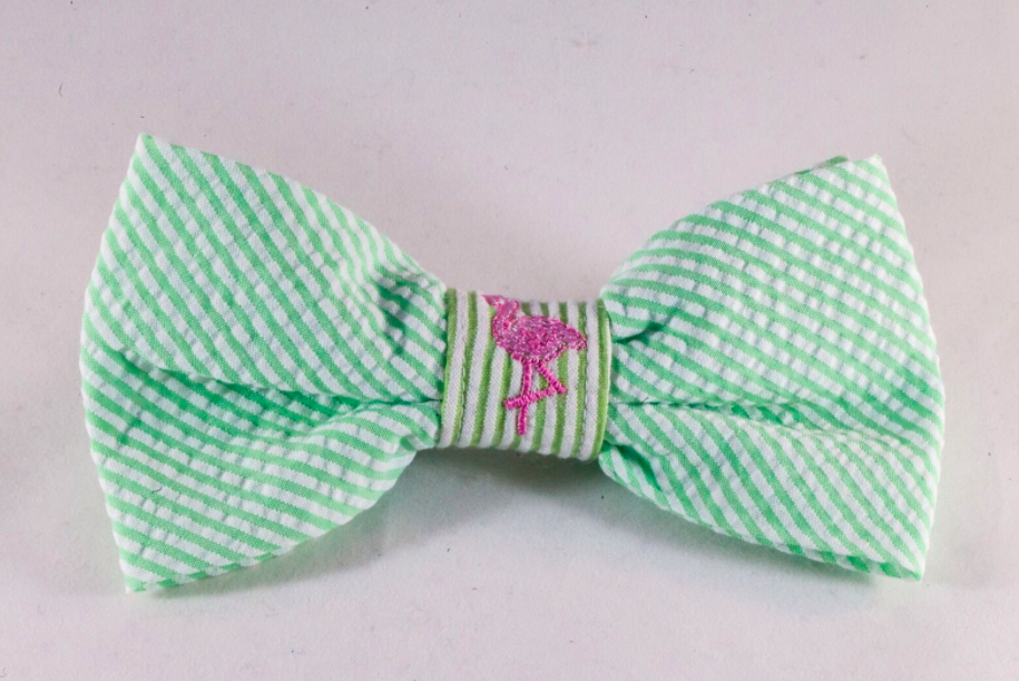 Preppy Green and Pink Flamingo Seersucker Dog Bow Tie
