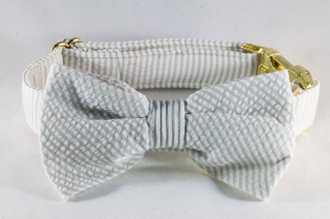 Preppy Khaki Seersucker Bow Tie Dog Collar