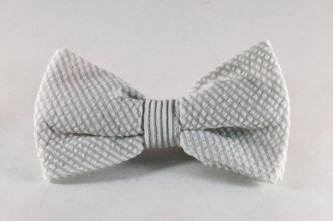 Preppy Khaki Seersucker Dog Bow Tie