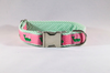 Seersucker Pink and Green Nantucket Whale Dog Collar