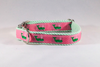 Seersucker Pink and Green Nantucket Whale Girl Dog Flower Bow Tie Collar