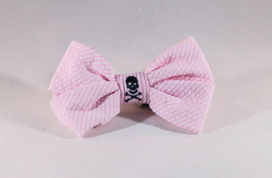 Preppy Pink Skull and Crossbones Girl Dog Bow Tie