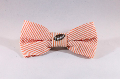 Preppy Football Orange Seersucker Dog Bow Tie, Tennessee Vols