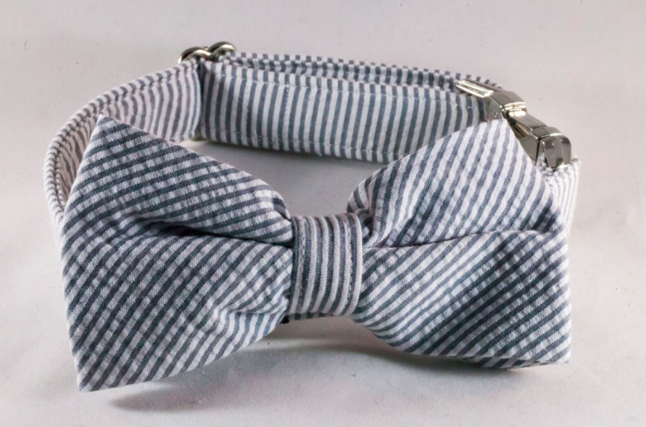 Preppy Grey Seersucker Bow Tie Dog Collar