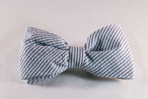 Preppy Grey Seersucker Dog Bow Tie