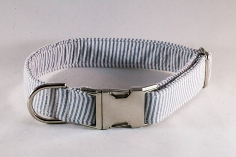 Preppy Grey Seersucker Dog Collar