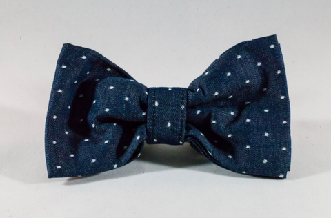 Preppy Blue Chambray Polka Dot Dog Bow Tie