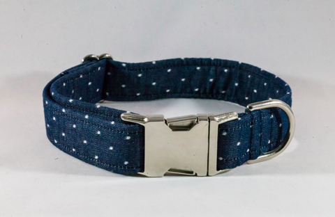 Preppy Blue Chambray Polka Dot Dog Collar