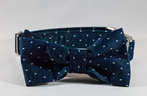 Preppy Blue Chambray Polka Dot Bow Tie Dog Collar