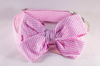 Preppy Pink Seersucker Girl Bow Tie Dog Collar