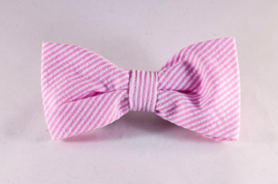 Preppy Pink Seersucker Dog Bow Tie