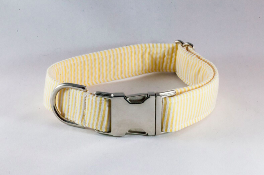Preppy Yellow Seersucker Dog Collar