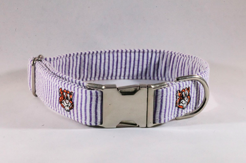 Preppy Purple and Gold LSU Tigers Seersucker Dog Collar
