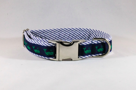 Seersucker Navy Blue Nantucket Whale Dog Collar