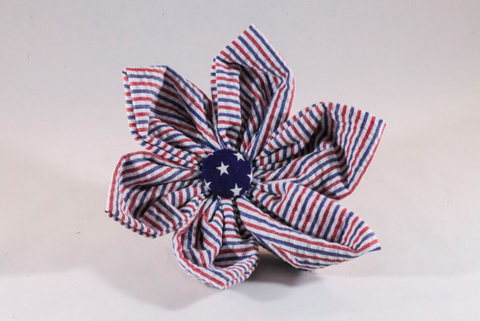 Preppy Red White and Blue Girl Dog Patriotic Seersucker Flower Bow Tie