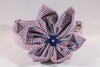Preppy Red White and Blue Girl Dog Patriotic Seersucker Flower Bow Tie Dog Collar