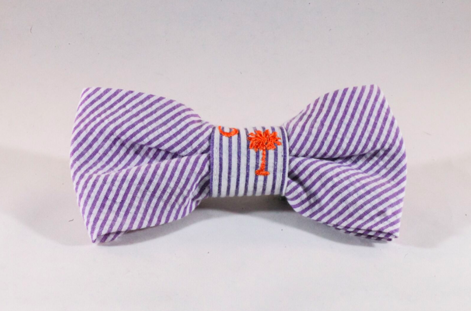 Preppy Purple and Orange Clemson Tigers Seersucker Dog Bow Tie