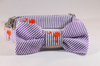 Preppy Purple and Orange Clemson Tigers Seersucker Dog Bow Tie Collar