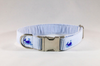 Preppy Blue Whale Seersucker Dog Collar
