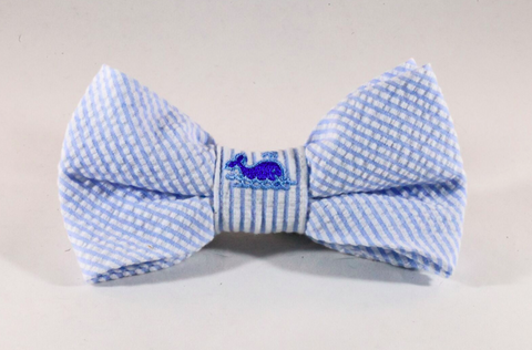 Preppy Blue Whale Seersucker Dog Bow Tie