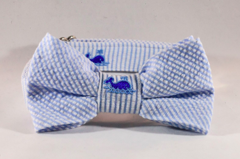 Preppy Blue Whale Seersucker Bow Tie Dog Collar