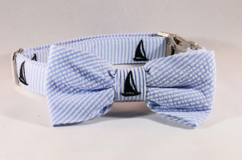 Preppy Blue Sailboat Seersucker Bow Tie Dog Collar