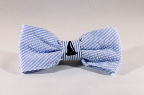 Preppy Blue Sailboat Seersucker Dog Bow Tie