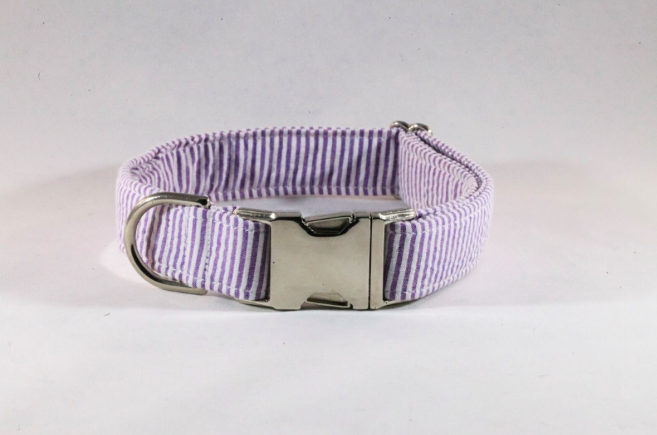 Preppy Purple Seersucker Dog Collar