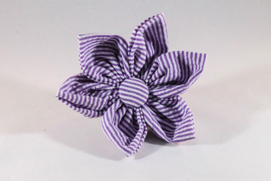 Preppy Purple Seersucker Girl Dog Flower Bow Tie