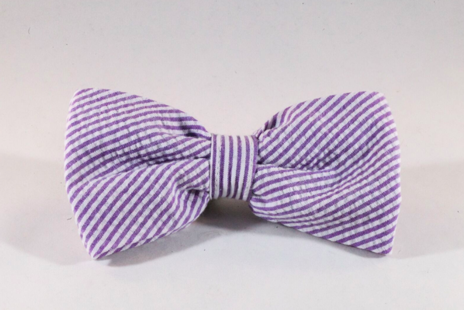 Preppy Purple Seersucker Dog Bow Tie