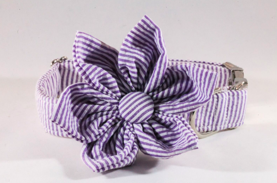 Preppy Purple Seersucker Girl Dog Flower Bow Tie Collar