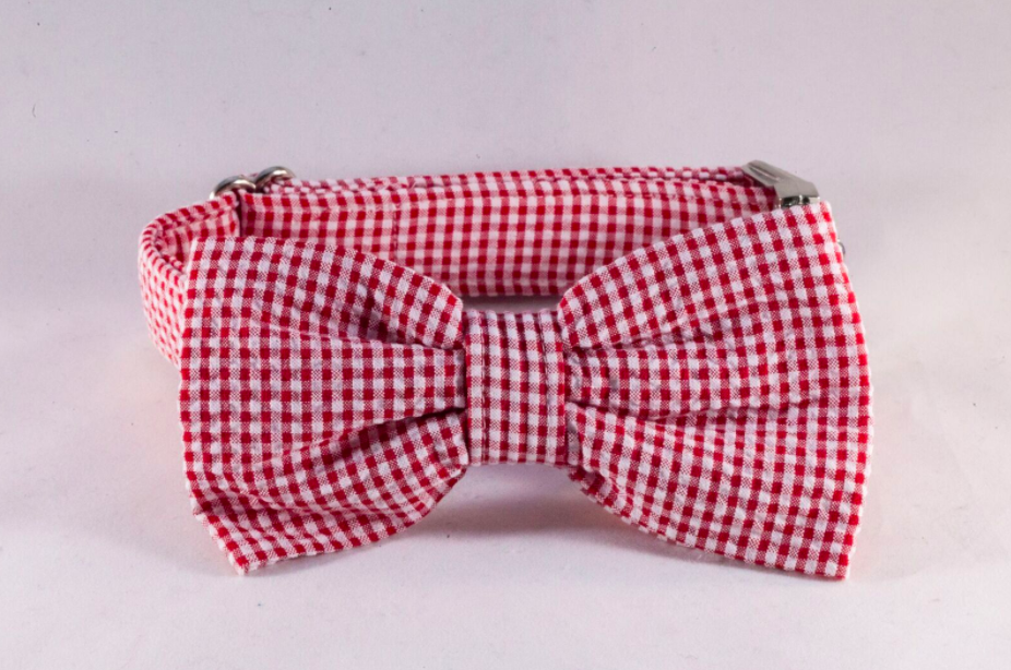 Preppy Red Gingham Bow Tie Dog Collar