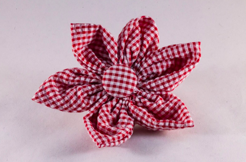 Preppy Red Gingham Girl Dog Flower Bow Tie