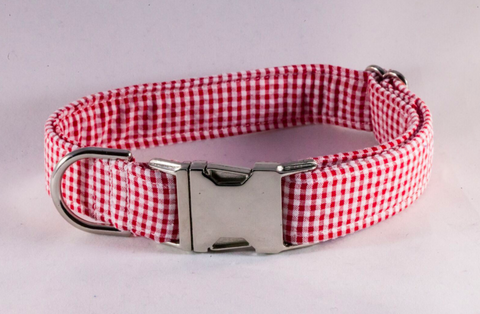 Preppy Classic Red Gingham Seersucker Dog Collar