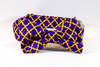 Preppy Purple and Gold LSU Quatrefoil Dog Bow Tie Collar