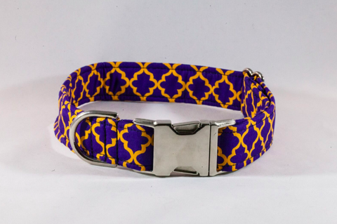 Preppy Purple and Gold LSU Quatrefoil Collar