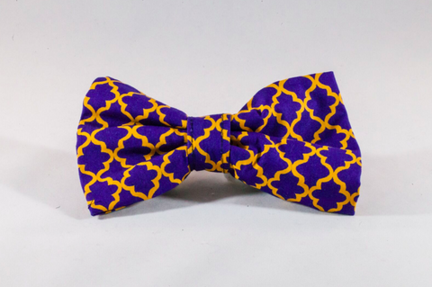 Preppy Purple and Gold LSU Quatrefoil Dog Bow Tie