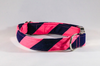 Preppy Navy Blue and Pink Stripe Dog Collar