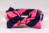 Preppy Navy Blue and Pink Stripe Dog Bow Tie Collar